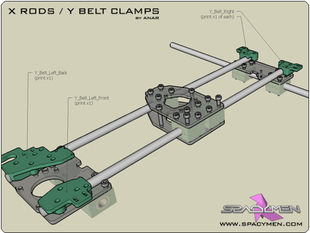 X Rods / Y Belt Clamps for Rapman 3.x
