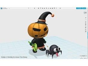 Pumpkin Wizard & Spider Figure