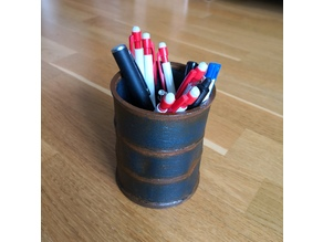 Dented barrel pen holder