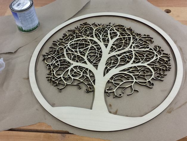 Laser Cut Tree In A Round Frame By Mistercrunch Thingiverse