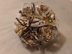 3mm wood and acrylic lasercut dodecahedron snap fit