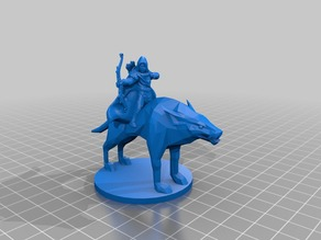Mounted Ranger on Dire Wolf 28mm