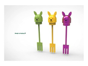 a rabbit-shaped portable fork and a pencil case