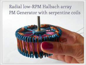 Radial low-RPM Halbach array PM Generator with serpentine coils.