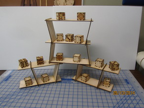 Miniature table top shelving display case.  Very Customizable - Highly Configurable - Stackable..  Laser cut.  Wood and Acrylic.