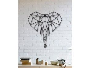 Elephant Wall Sculpture 2D