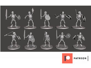 Skeleton Warriors with Sword & Shield x 10 Poses