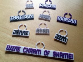 Customizeable Wine Charms using spiff type, for use in OpenSCAD