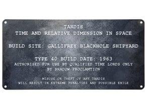 Doctor Who Tardis maker  plate