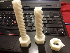 Parametric Printable Threaded Rod / Leadscrew and Nut