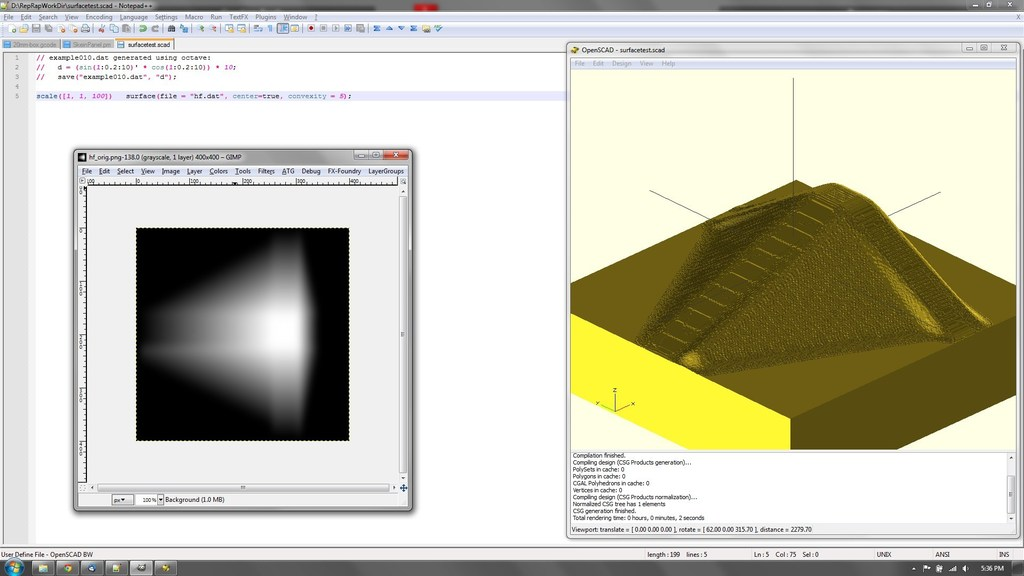 OpenSCAD surface Gimp Export Plugin by ffaat - Thingiverse
