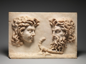 Roman marble relief of a Satyr and a Silenus