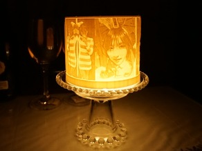 Customizable cylinder lithophane lamp