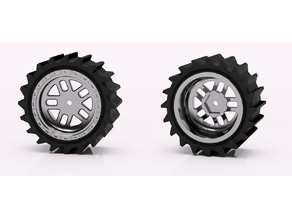 1:10 Monster Truck Wheels +Paddle ( Sand ) Tyres