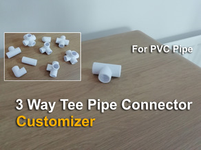 3 Way Tee Pipe Connector - Customizer