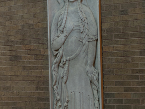 Limestone Indian Maiden Panel at First National Bank