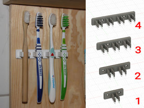 Wall mounted toothbrush holder (for 1 - 4 brushes)