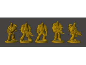 Tactical Banana Space Knights Squad in Power Armour