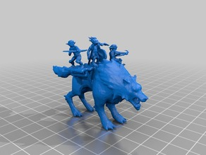 18mm warg with goblin platform for D&D