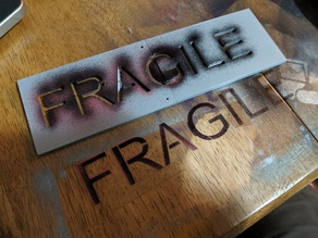 FRAGILE Stencil for shipping boxes