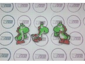 8bit Pixel Green Yoshi Keychain - Super Mario World