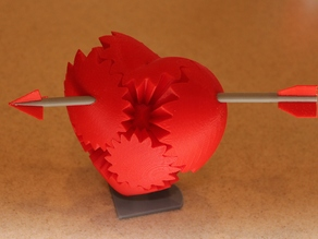 Arrow Through Gear Valentine's Heart With Stand!