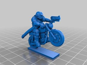 Bike Rider with Gun miniature