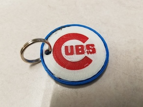 Tri Color Cubs KeyChain
