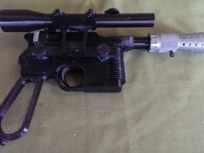 Mauser C96 model with flash hider and scope