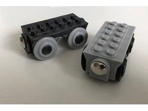 Brio wooden track train with Lego studs