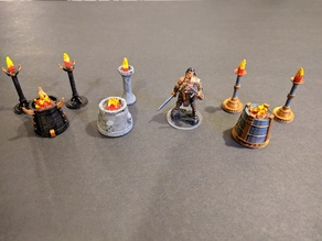 Standing Torches & Braziers - 3 styles - 28mm gaming