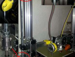 New z-axis holder for the K8200 (3Drag) and chanching axis coupler