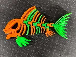 Articulated Piranha Skeleton / Two Color Print / Dual Extrusion