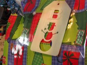 Snowman Gift Tag w/ Initial: Negative Cut