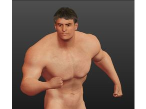 muscle man low poly statue bodybuilding pose