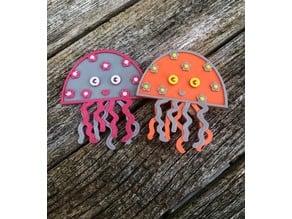 Jellyfish brooch / pin / badge