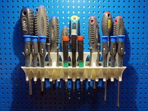 Screwdriver holder (pegboard or wall mounted)