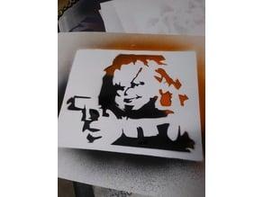 Chucky with Gun Stencil