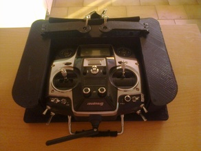 Transmitter tray with foldable neck strap