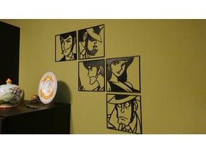Wall Art Monkey Punch Lupin III (Rupan Sansei), Jigen, Goemon, Fujiko, Zenigata