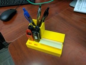 Pen/USB holder and sticky note dispenser