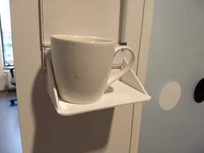 Wide coffee cup holder for door sign