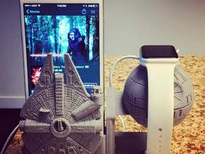 Death star millennium Falcon Charging stand for apple watch and  iPhone 6 plus (amplifying)