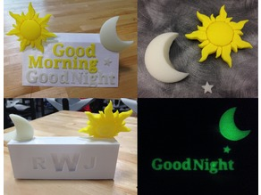 Good Morning / Good Night Glow in the Dark 3D sculpture