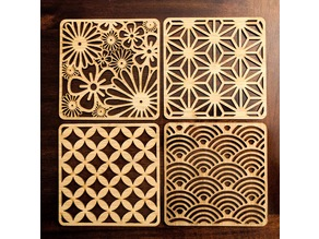 Laser Cut Japanese Pattern Coasters