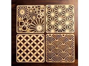 Laser Cut Japanese Pattern Coasters