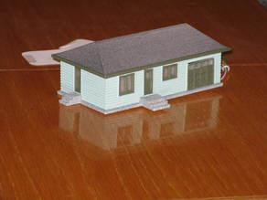 HO Scale House with Garage Door Opener