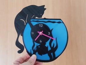 reloj pecera gato