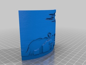 3d picture elephant family