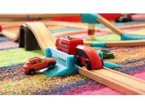 Train crossing a wooden rails